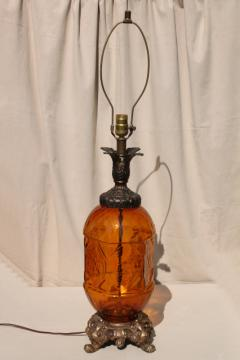 60s vintage amber glass lamp, hippie gypsy style huge retro table lamp