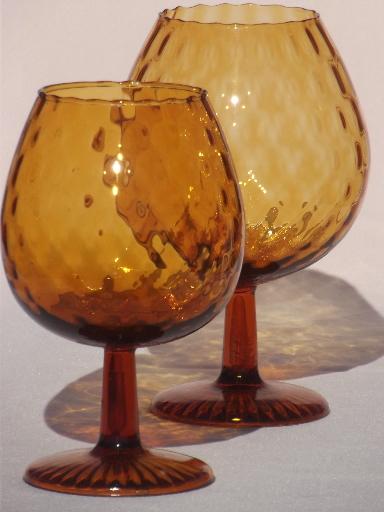 60s Vintage Amber Glass Snifter Vases Huge Hand Blown Art