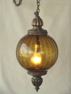 60s vintage amber glass swag lamp, retro round globe hanging light