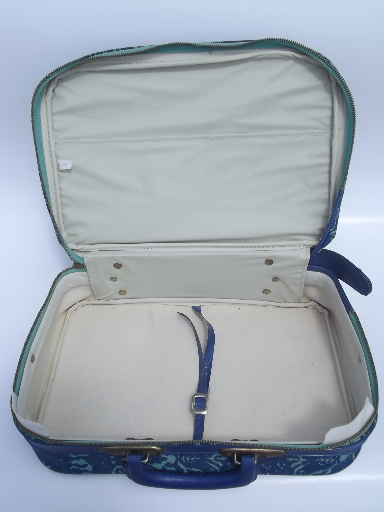 60s vintage aqua blue  print suitcase, overnight  weekender laptop bag