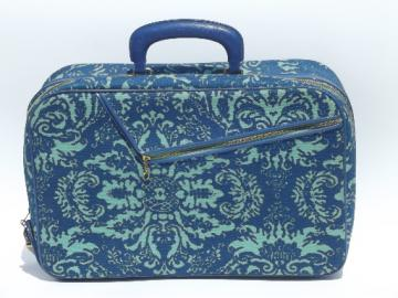 60s vintage aqua blue  print suitcase, overnight  weekender laptop bag