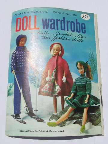 60s vintage Barbie doll clothes, full-size sewing pattern patterns ...