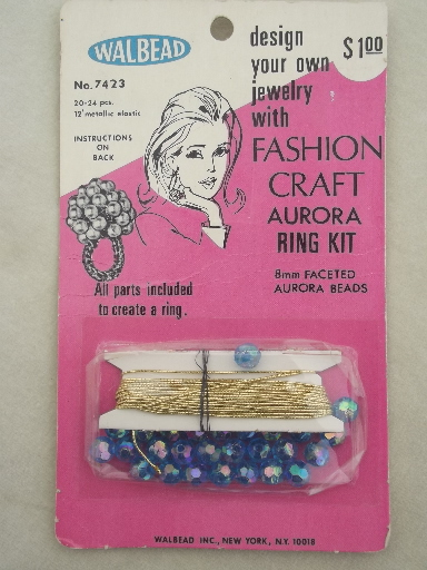 60s Vintage Bead Ring Kits For Fashion Jewelry Cocktail