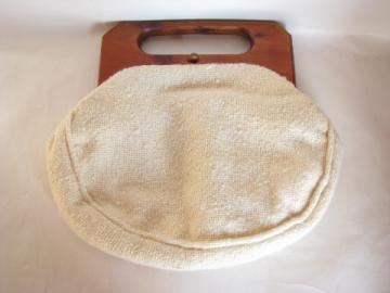 60s vintage Bermuda bag purse, nubby ivory wool cover, Trimingham's label