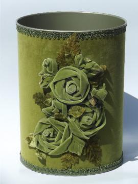 60s vintage boudoir wastebasket w/ lush antique green velvet roses