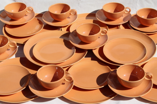 60s vintage burnt orange Pebbleford TS\u0026T pottery dinnerware set mod adobe terracotta color & vintage china dishes and dinnerware