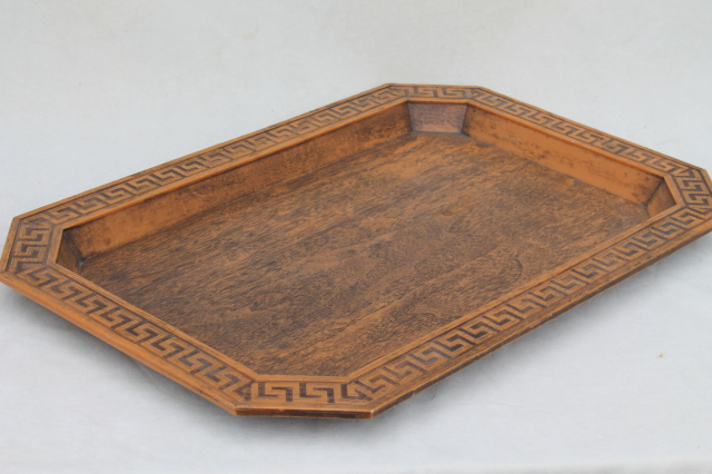 60s vintage Burwood wood grained plastic serving tray w/ greek key frame