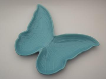 60s vintage butterfly ceramic dish, retro aqua blue pottery butterfly