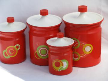 60s vintage canister set, kitchen canisters w/ big mod circles