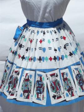 60s vintage card party print hostess apron, accordian pleated cotton fabric