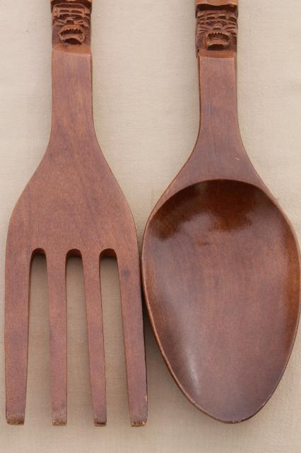 60s vintage carved wood fork & spoon wall art, polynesian ...