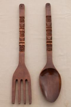 60s vintage carved wood fork & spoon wall art, polynesian tiki bar restaurant lounge decor