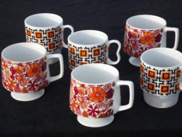 60s vintage coffee mugs, retro orange & pink flowers & mod geometric print