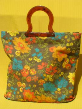 60s vintage cotton canvas tote / shopping bag, retro flowers print