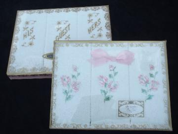 60s vintage cotton hand towel boxed gift sets, never used original boxes