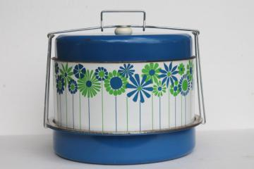 60s vintage daisy print hat box tin cake & pie carrier keeper for tailgating picnics