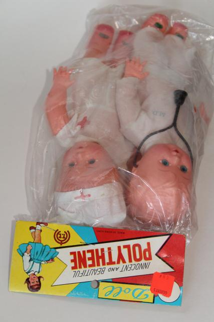 60s vintage dime store toy dolls, play doctor & nurse w/ funny original label package