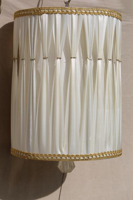 60s Vintage Drum Shade Pendant Light Hollywood Regency