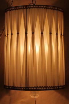 60s vintage drum shade pendant light, hollywood regency white & gold lampshade swag lamp