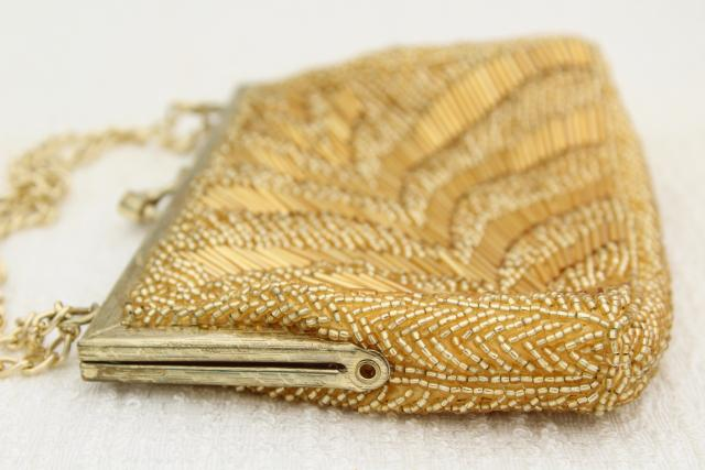 60s vintage evening bag, formal gold beaded purse w/ shoulder chain, made in Hong Kong