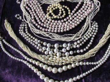 60s vintage faux pearls, retro plastic pearl necklaces lot, chokers & strings