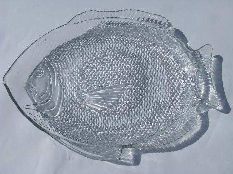 60s Vintage Fish Shape Glass Seafood Serving Platter