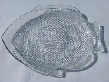 60s vintage fish shape glass seafood serving platter