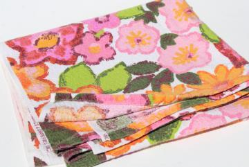 60s vintage flower print cotton barkcloth fabric, retro patio tablecloth tropical colors