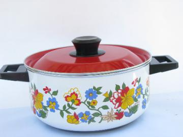 60s vintage flowered enamel stock pot w/ lid, Ekco- Italy?