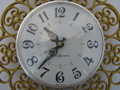 Brilliant 60S Vintage Ge Kitchen Wall Clock Retro Gold Plastic Frame Home Interior And Landscaping Synyenasavecom