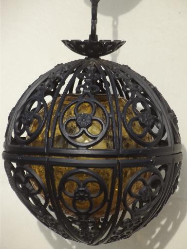 60s Vintage Globe Pendant Light Retro Amber Glass Gothic
