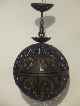 60s vintage globe pendant light, retro amber glass gothic Spanish iron hanging lamp