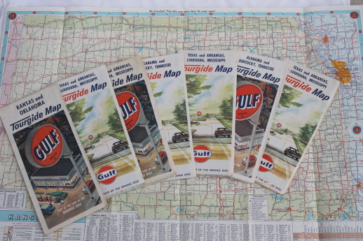 60s vintage Gulf oil advertising Tourgide maps, midwest ...