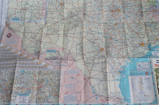 60s vintage Gulf oil advertising Tourgide maps, midwest / southern ...