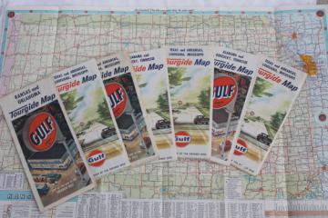 60s vintage Gulf oil advertising Tourgide maps, midwest / southern states road map lot
