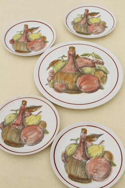 sc 1 st  1StopRetroShop.com & 60s vintage ironstone fruit u0026 cheese plates set w/ old wine jug pattern