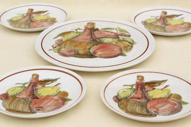 60s vintage ironstone fruit & cheese plates set w/ old wine jug pattern