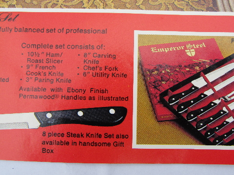 60s vintage Japan stainless steel carving knives, Emperor knife set