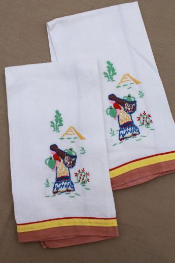 60s Vintage Kitchen Linens Lot, Printed Linen Tea Towels, Embroidered Towel  Set Etc.