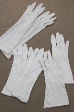 60s vintage ladies gloves, white cotton white lace lady's gloves lot