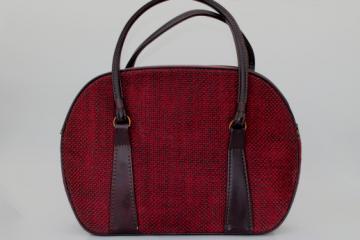 60s vintage luggage, tweed suitcase satchel bag, travel carry-on or large purse