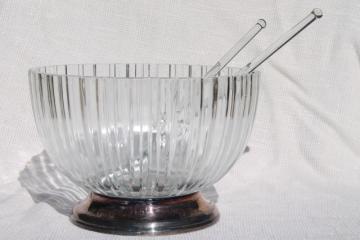 60s vintage mod Italian glass & silver salad bowl set, mid-century modern tableware