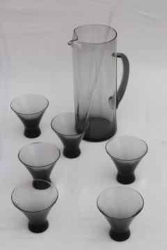 60s vintage Morgantown Normandie blue grey smoke glass cocktail glasses & pitcher