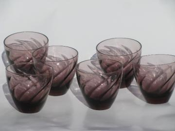60s vintage Moroccan amethyst swirl barware , 6 small cordial glasses