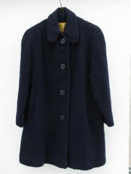 60s vintage navy blue wool boucle coat, retro school girl style