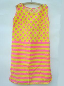 60s vintage neon cotton shift dress, shocking pink & yellow stripes & dots