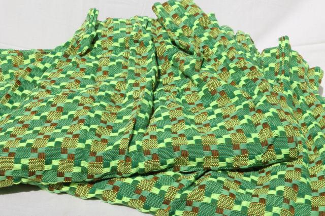 60s vintage nubby tweed drapes, heavy fabric panels retro yarn woven green & brown curtains