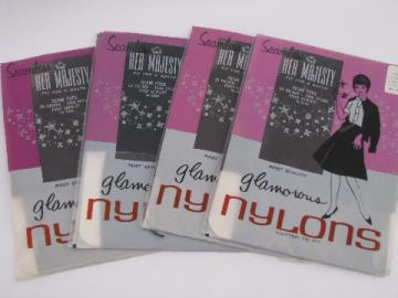 60s vintage nylon stockings lot, sheer black, original Her Majesty pkgs