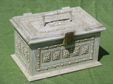 60s vintage ornate french provincial gold & white plastic sewing box