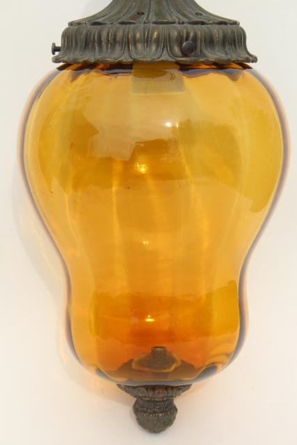 60s vintage pendant light w/ hand blown amber glass shade, retro swag lamp style